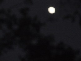 Do you see the bottom left flat side of the moon?  I gurantee you, it won't be fully round for two days. My Cherokee eyes have not failed me yet!