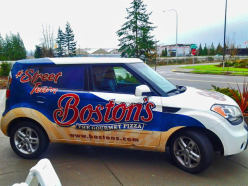 Boston's Restaurant and Sports Bar delivery car