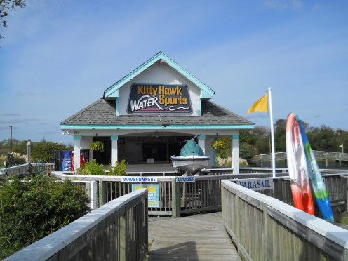 Kitty Hawk Water Sports rents kayaks, waverunners and pedal boats. They also offer parasailing adventures and tour boat cruises in the Currituck Sound.