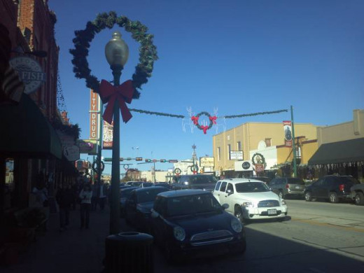 Grapevine Texas Christmas Decorations during the day