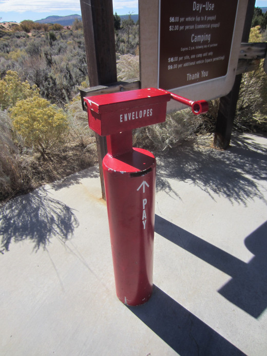 Receptacle for depositing fee envelopes at Utah's Coral Pink Sand Dune State Park