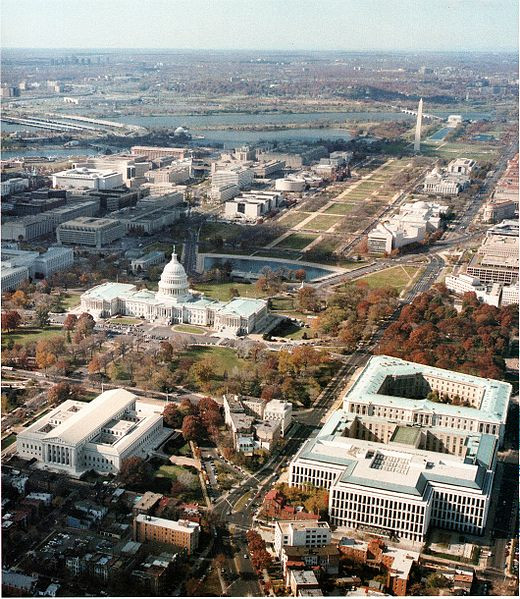 This photograph of an aerial view of Capitol Hill and the National Mall was taken by an employee of the Architect of the Capitol in the course of official duties.