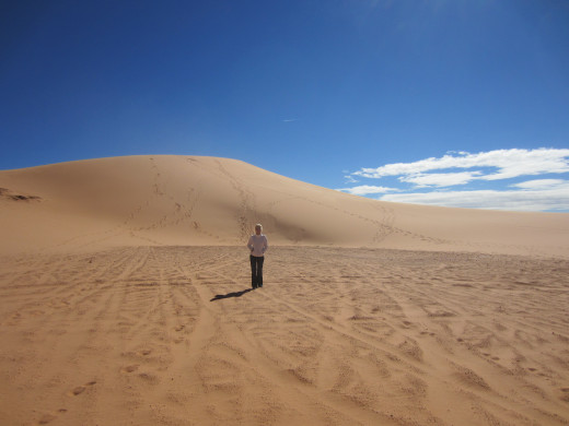 My wife in a sea of sand.  Utah's Coral Pink Sand Dunes State Park.