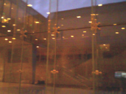 View from inside the lobby of the Chazen Museum, at dusk