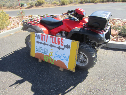 Equipment for rent to use at Coral Pink Sand Dunes State Park in Utah.