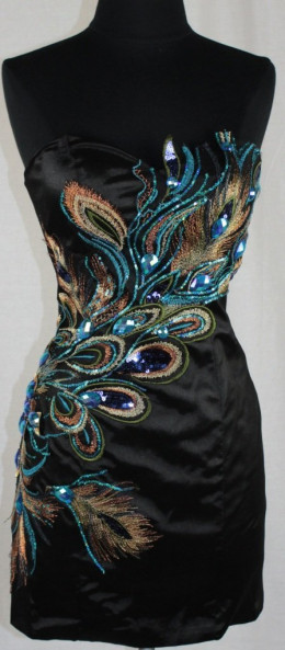 Short Peacock Dress with Feather Designs