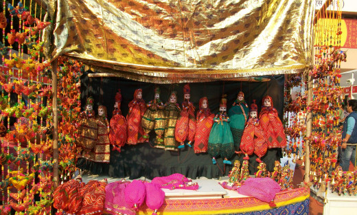 The colourful puppets and the  puppet show, IITF, New Delhi