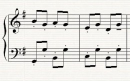 The opening melodic idea with a tune centered around the note G
