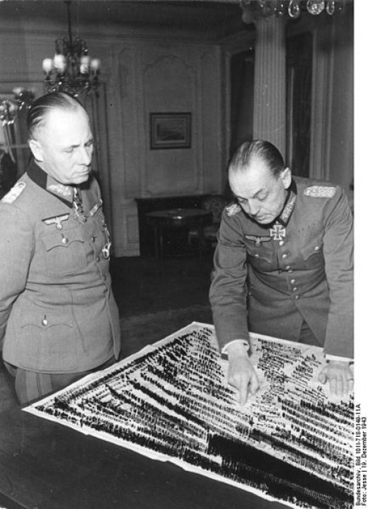 December 1943, Paris.- Generalfeldmarschall Erwin Rommel and Oberbefehshaber West Gerd von Rundstedt meet at the Hotel George V, avenue des Champs-Elysees