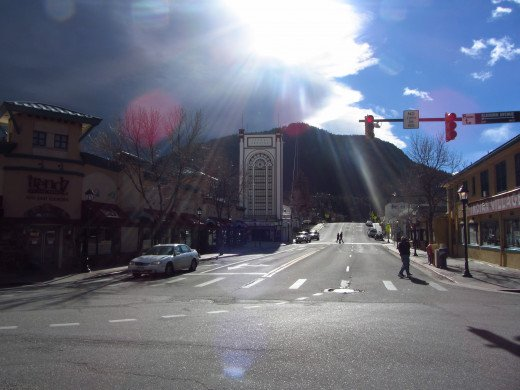 The theater and tramway behind in Estes Park, Colorado