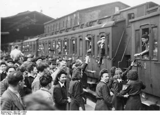 May 1943 - Departure of French nationals enrolled against their will in a German mandatory work programme at the Gare du Nard (North Station) in Paris