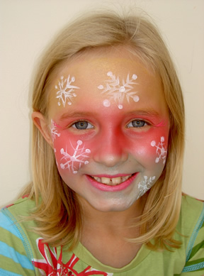 snowflake face painting with red base