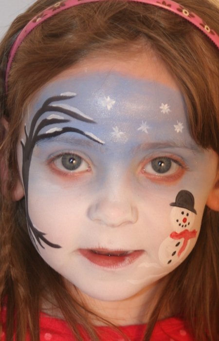 snowflake face painting scene