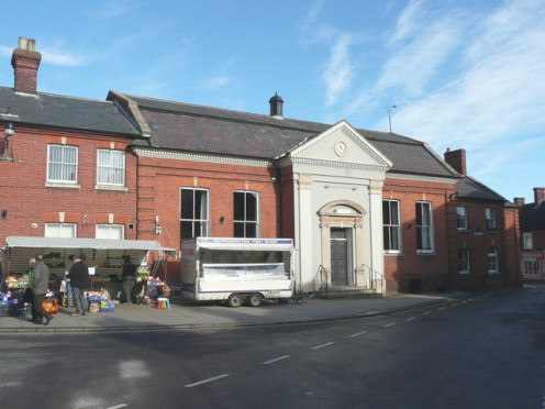 Town Hall, Aylsham, with market stalls