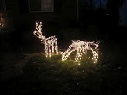 Decorate the yard with lit reindeer to show your holiday cheer. Its inlays fun looking at people's yards when they are fixed up for the Holidays.