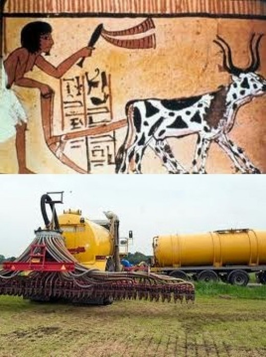 The evolution in farming technology was instrumental in ending human slavery.