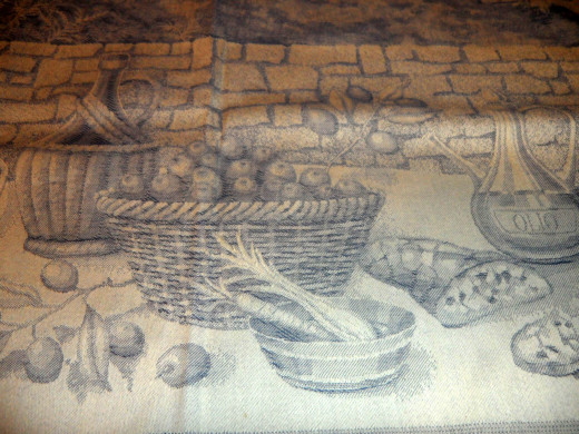 A part of the tea towel.  Love the scene on it.  I now have my mom's and I only use it to set out when entertaining, never to dry dishes.