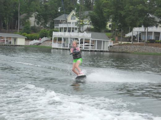 Wake boarding on Lake Gaston