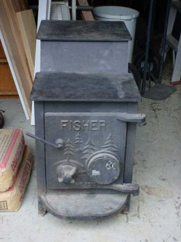 A Fisher wood heater.