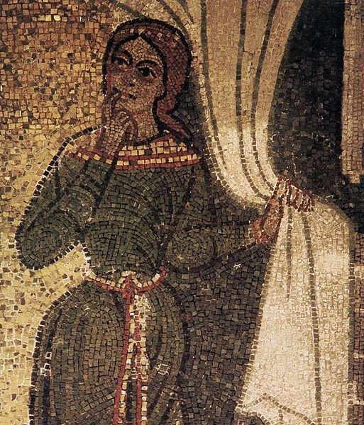 This is a detail (portion) of a mosaic called The Visitation. It was created in the 12th century and is located in the Basilica of San Marco in Venice, Italy.