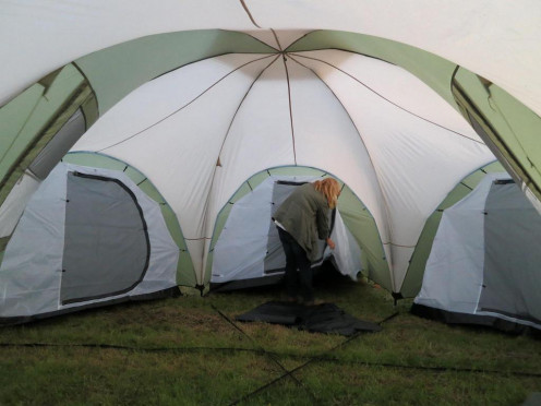 Massive tents come in varying sizes.  This is an example of a multi-room tent.