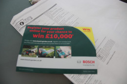 Promotion from Bosch to give pound 10,000 for one lucky winner who registers the product online.