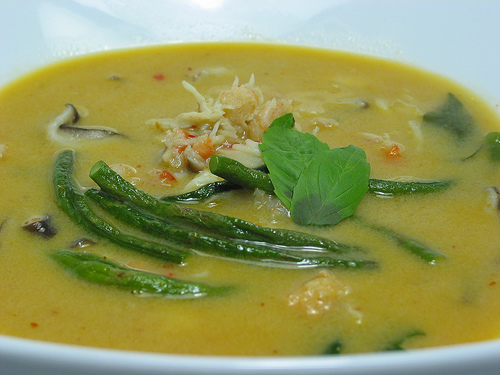 Coconut milk is usually the main additive in soups for this crab.