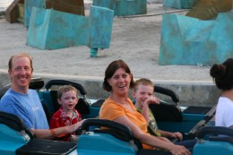 The author's sons, husband, and mother on a second ride.