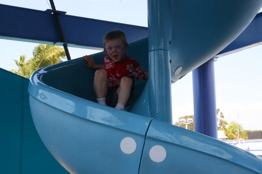 Slides are plentiful in this giant playground.