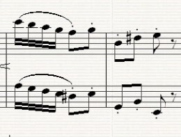 Ending of the middle section in E minor