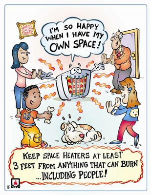 Follow safety precautions when using a portable (space) heater.