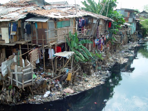 An example of urban poverty in this slum in Jakarta, Indonesia