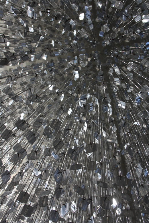 Looking straight up into the dog tag chandelier.