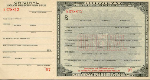 Prescription form for medicinal liquor : This is an official government document from the 1920s, a Medicinal Alcohol form. This form was used during the American Prohibition to acquire prescription alcohol, usually whiskey, for strictly medicinal pur