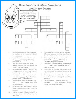 Printable grinch christmas crossword puzzle for children