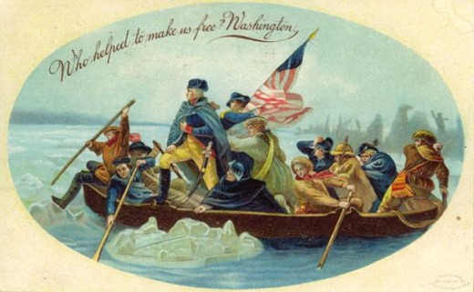 Washington crossing the Delware with his men