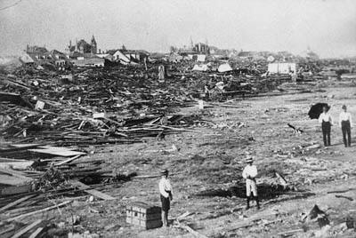 A scene from the destruction of the 1900 hurricane, Galveston.