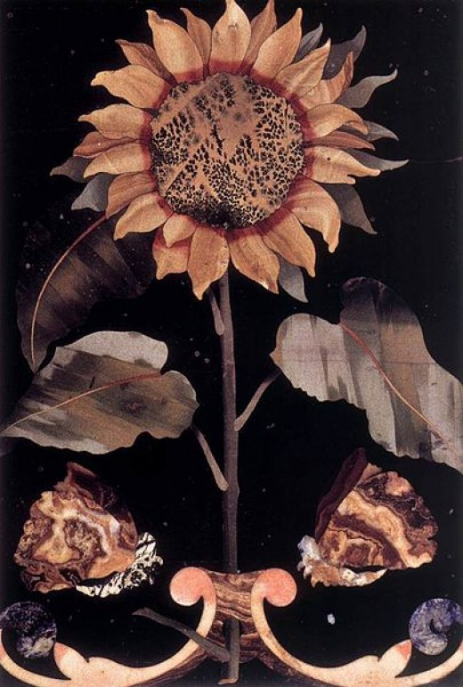 This hard stone inlay mosaic of a Sunflower by an unknown artist is currently in the Museo dell'Opificio delle Pietre Dure, in Florence, Italy.