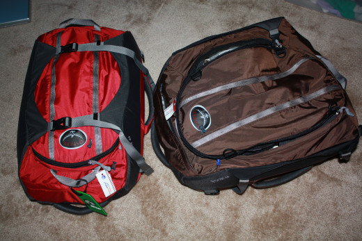 I love the Osprey Porter so much that we bought two - one for me and one for my husband.  You can see that the Salsa Red pack on the left has the compression straps tightened.