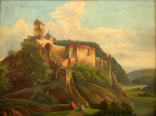 This painting of Karlštejn Castle in the Czech Republic was painted by an unknown artist between 1850 and 1899.