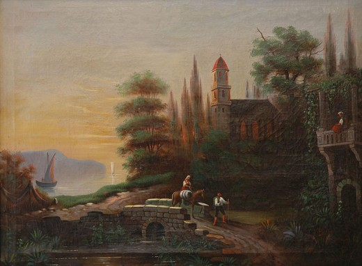 This painting of Kalocsa, Hungary was painted by an unknown artist between 1850 and 1899.