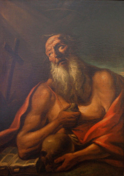 This painting of Saint Jerome by an unknown artist is currently in the National Gallery in Prague, Czech Republic.