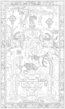 A drawing of the lid to Pakal's tomb.