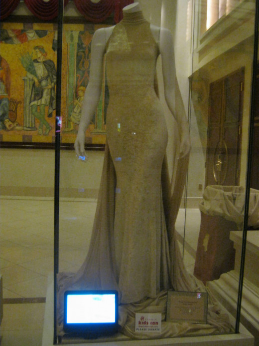 One of the stunning gowns worn by Shania Twain either in videos or in live performances. These gowns are on display in cases outside of the Coliseum at Caesar's Palace.