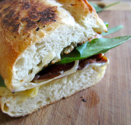 Maple bacon, gouda and baby spinach grilled cheese sandwich