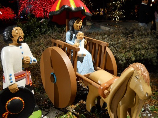 Mexican display with Mary, Joseph and Baby Jesus