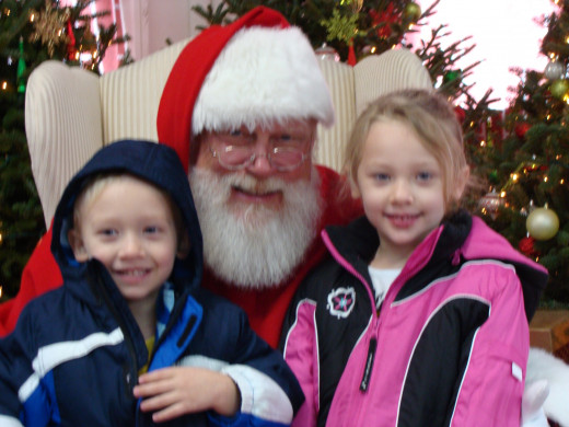 Visiting Santa after the tree cutting.
