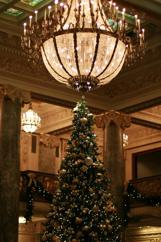 Decorated tree in the Joseph Smith Memorial Building adjacent to Temple Square.