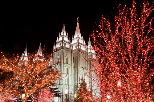 Salt Lake City Temple during Christmas