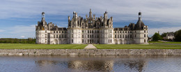 Northwest facade of the Chambord Castle in the Loire Valley of France